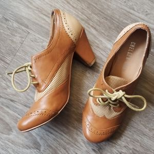 Chelsea Crew Chestnut Brown Leather Lace Up Heels